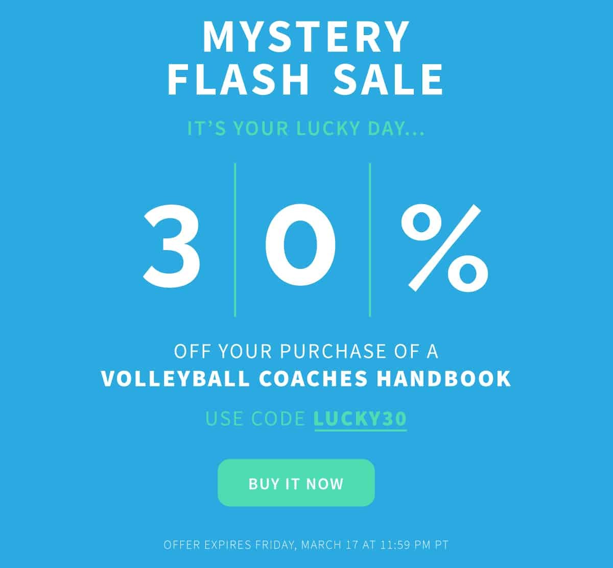 You've won 30% off the Volleyball Coaches Handbook!